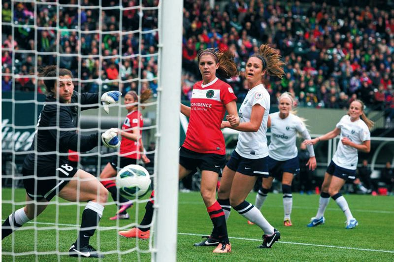 by: TRIBUNE FILE PHOTO: NICK FOCHTMAN - Portland Thorns FC defender Marian Dougherty, scoring a goal vs. Seattle, has been impressive this season, says General Manager Gavin Wilkinson.