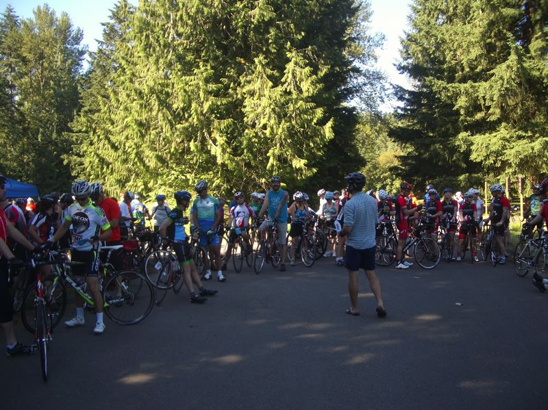 by: PETER HOFFMAN - Gabriel Amadeus instructs riders preparing to depart on either the 30-mile or 50-mile loops.