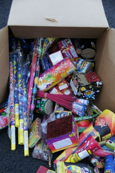 by: PORTLAND FIRE & RESCUE - Confiscated illegal fireworks
