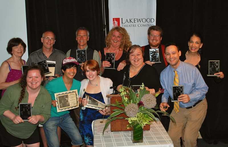 by: SUBMITTED PHOTO: LAKEWOOD THEATRE COMPANY - Award winners include, back row from left, Margaret Louise Chapman, Greg Tamblyn, Jeff Gorham, Chris Berreth, Brandon Weaver, Lisa Knox; and front row, from left, Rani Lightle, Alex Mitchell, Heather Taylor, Barbara Irvin and Joe Theissen.