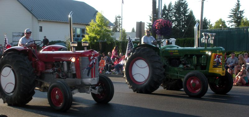 by: POST FILE PHOTO: - Among many types of entries in the 2012 Sandy Mountain Festival Parade were these decorated tractors. The parade, which begins Thursday at 7 p.m., includes floats and many types of vehicles - some powered by engines, some by people. The parade also includes Festival Queen Patricia Schmautz and her court.