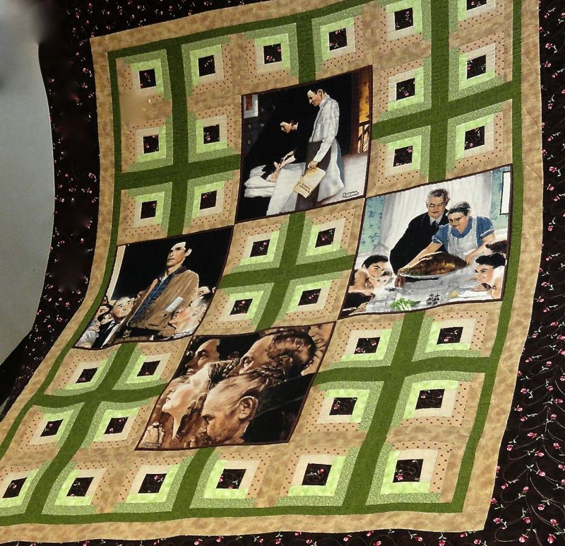 by: CONTRIBUTED PHOTO:  - This is the quilt with inages of Norman Rockwell's Four Freedoms that was made for the 50th wedding anniversary of Pearl and Jim Martin of Sandy. The quilt was one of the 17 quilts in the quilt turning activity at the annual quilt show.