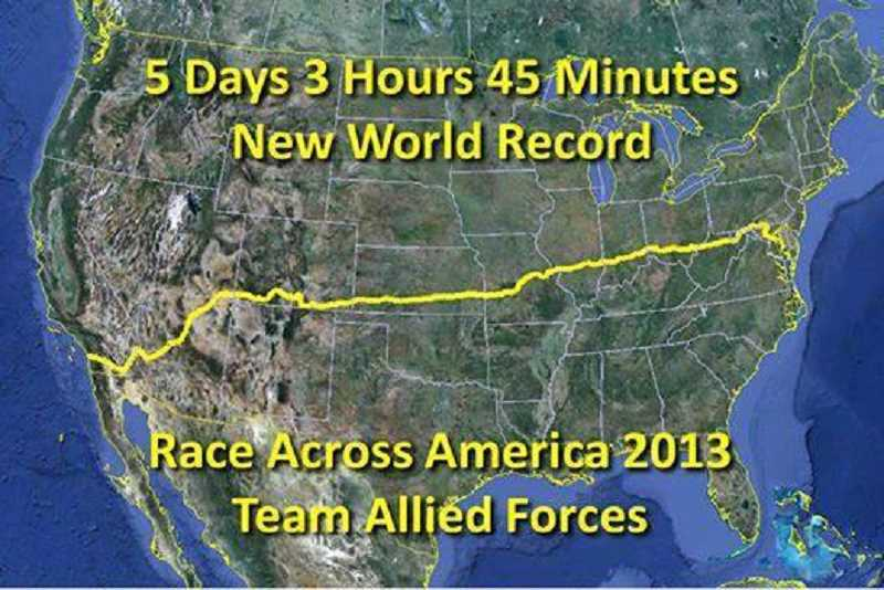 by: CRAIG BINGHAM - This map shows the route of the Race Across America.