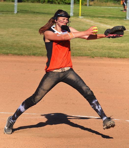 by: JOHN BREWINGTON - Madison MacDonald handled the pitching chores against Interstate-Kenton/Willamette. The team handily won both games to earn a berth in the state tournament in K-Falls.
