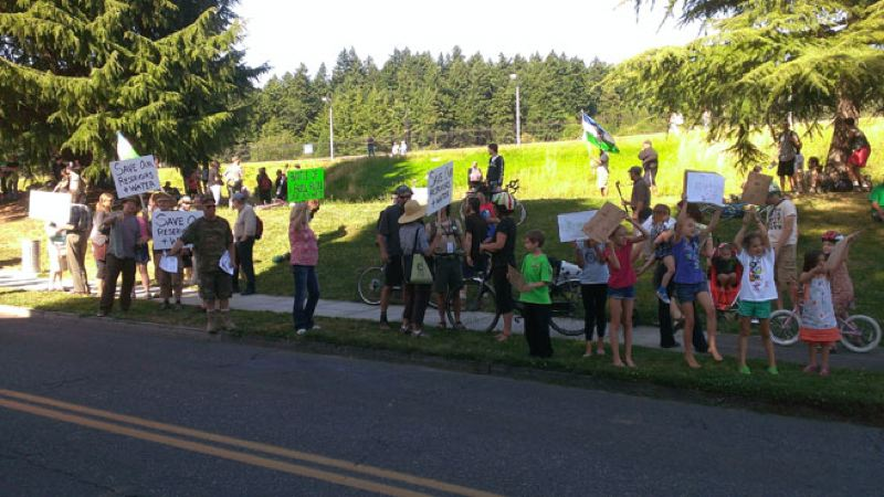 by: KOIN LOCAL 6 - Protesters blocked the streets at Mt. Tabor over the reservoir closing Friday's demonstration.