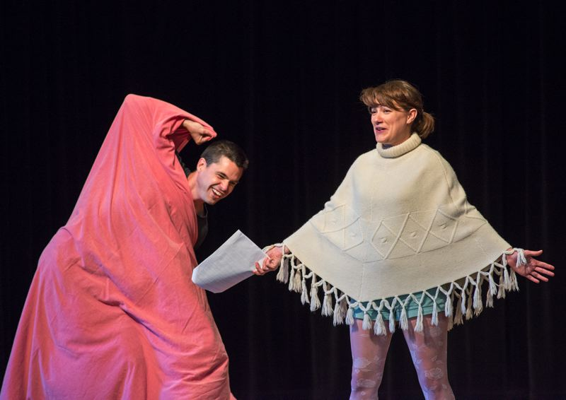by: HILLSBORO TRIBUNE PHOTO: CHASE ALLGOOD - Matt Deegan and Emily Glisan play the roles of a washcloth and snowflake in Isai Bricenos play Getting Confidence Instead of Losing Confidence.