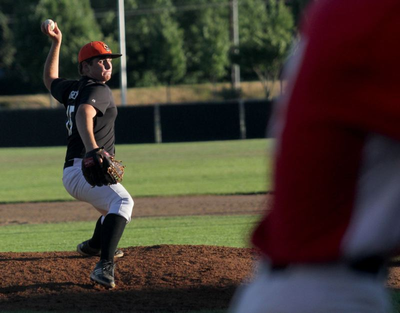 by: JONATHAN HOUSE - Gladstone junior Austin Krieger threw a 2-hitter in last weeks 10-0 rout of Estacada.