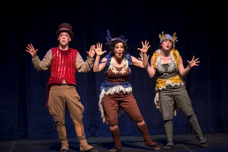 by: PHOTO BY OWEN CAREY - Haley Ward, far right, warbles a song with fellow birds, Eric Little and Rebecca Teran, in 'A Year With Frog and Toad.'