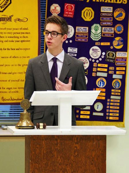 by: COURTESY PHOTO - Luke Berdahl delivers his rebuttal during a debate competition this past year.