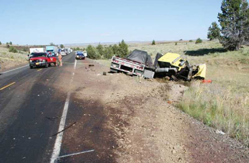 by: PHOTO COURTESY OF OSP - Two people died in a three-vehicle crash July 10, on U.S. Highway 97, between Shaniko and Kent.