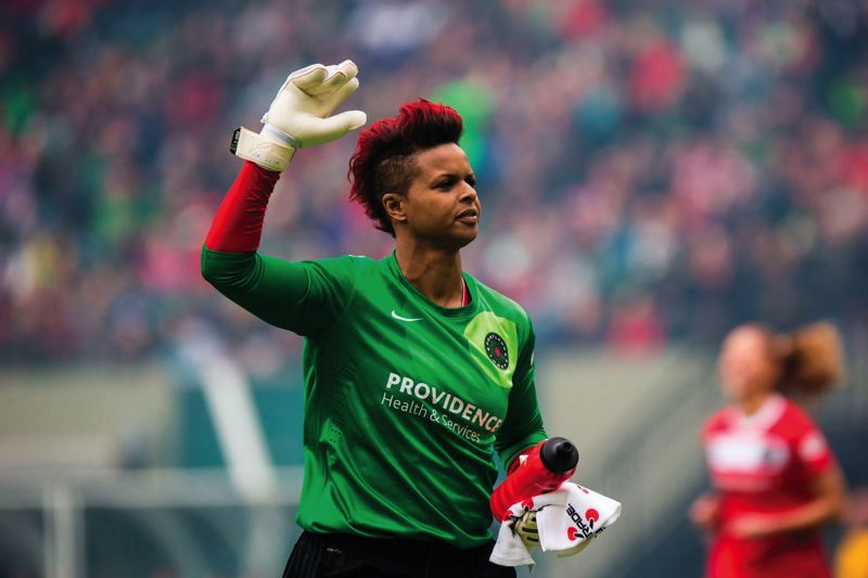 by: TRIBUNE PHOTO: CHRISTOPHER ONSTOTT - Karina LeBlanc, NWSL goalie of the week, went from a shy girl taking piano and ballet lessons to a gregarious world-class player and motivational speaker who is a Portland Thorns FC star.