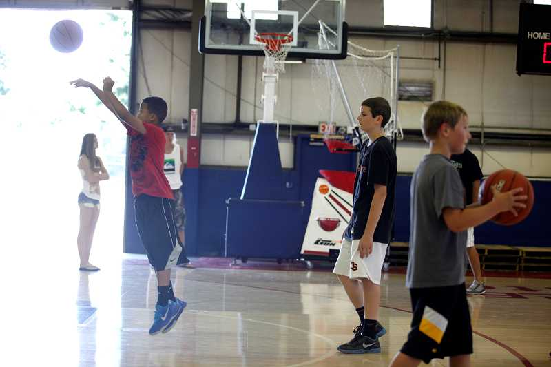 Children took advantage of Saturdays open house at the Practice Facility in Tigard to shoot hoops.