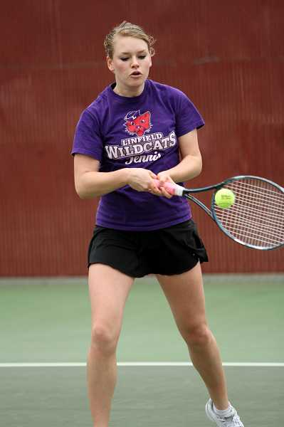 by: LINFIELD ATHLETICS - Gretchen Jernstedt's first match as a college freshman came in the Northwest Conference championship finals.