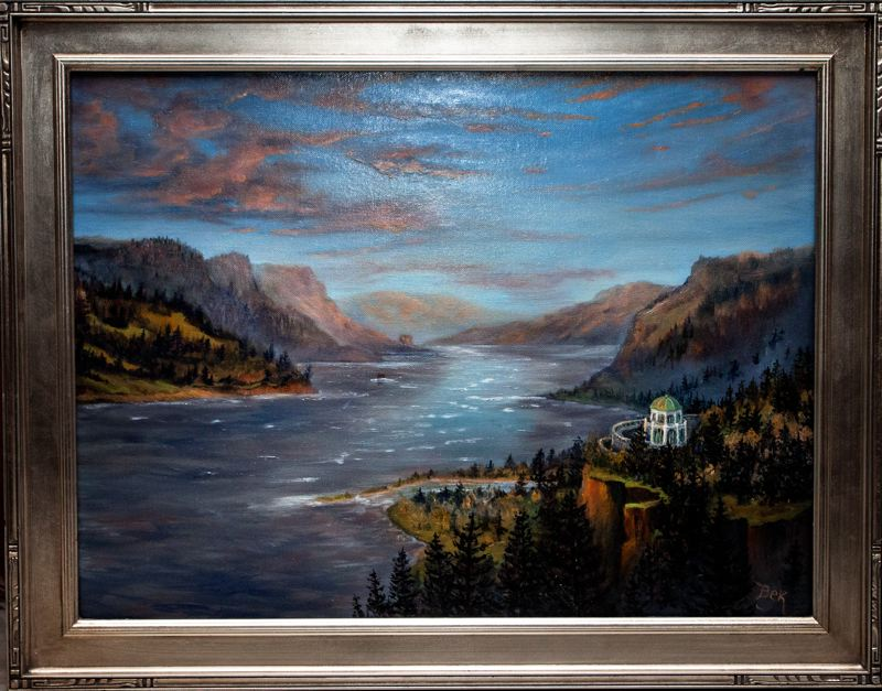 by: CONTRIBUTED PHOTO: ROD STROH - This photo of a Becky Hawley oil painting depicts the artists mental image of a distant Crown Point in the Columbia River Gorge — as if she had taken a hot-air balloon ride in her mind and imagined the scene.