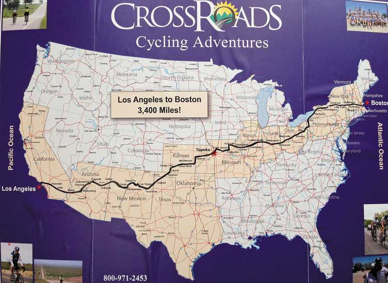 by: SUBMITTED - A Crossroads Cycling Adventures map shows the route MacKenzie and two dozen other bike riders followed. The riders started in the Los Angeles area May 11.