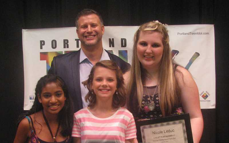 by: CAROLYN HOARD - Director Dennis Gleason stands with the top three finalists of Portland Teen Idol, from left, Emilee Brnusak, Emily Brady and Lake Oswego native Nicole Leduc.