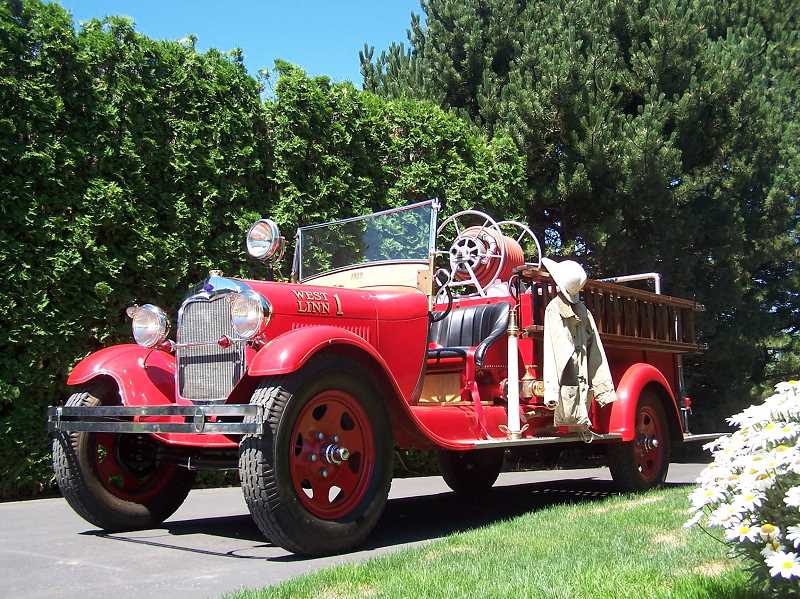 by: SUBMITTED PHOTO - This antique fire truck will be on display at the West Linn Adult Community Center's spaghetti feed Aug.2.