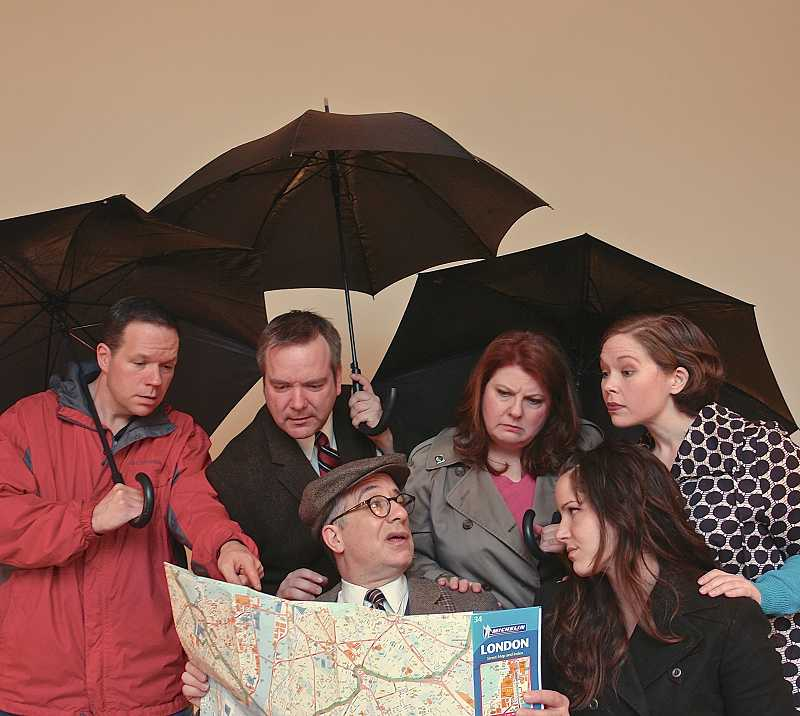 by: COURTESY PHOTO: HART THEATRE - (Left to Right) Tom Witherspoon as Henry McNeil, Dan Kroon as Philip Brown, Jim Crino as Joe Taylor, Angela Michtom as Betty McNeil, Brianna Sehorn as Katie Taylor and Maille OBrien as Frankie Lewis try to navigate London -- and rocky interpersonal dynamics -- at HART Theatre this weekend.