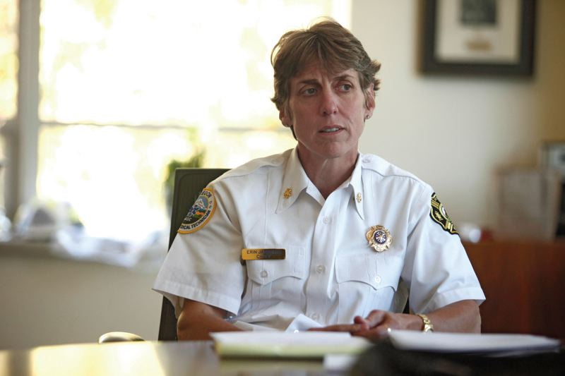 by: TRIBUNE PHOTO: JONATHAN HOUSE - Portland Fire Chief Erin Janssens says automated fire sprinklers  could help prevent fire emergencies