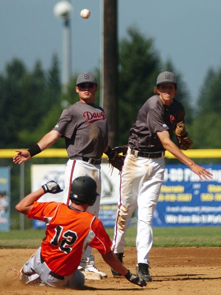 by: DAN BROOD - THE THROW -- Suburban Door second baseman Nathan Senger (right), next to shortstop Tanner Marsh, tries to complete a double play in Tuesday's tourney game.