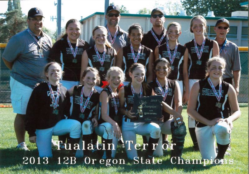by: SUBMITTED PHOTO - TUALATIN'S TROPHY -- The Tualatin Terror ages 12U softball team recently claimed the state championship.