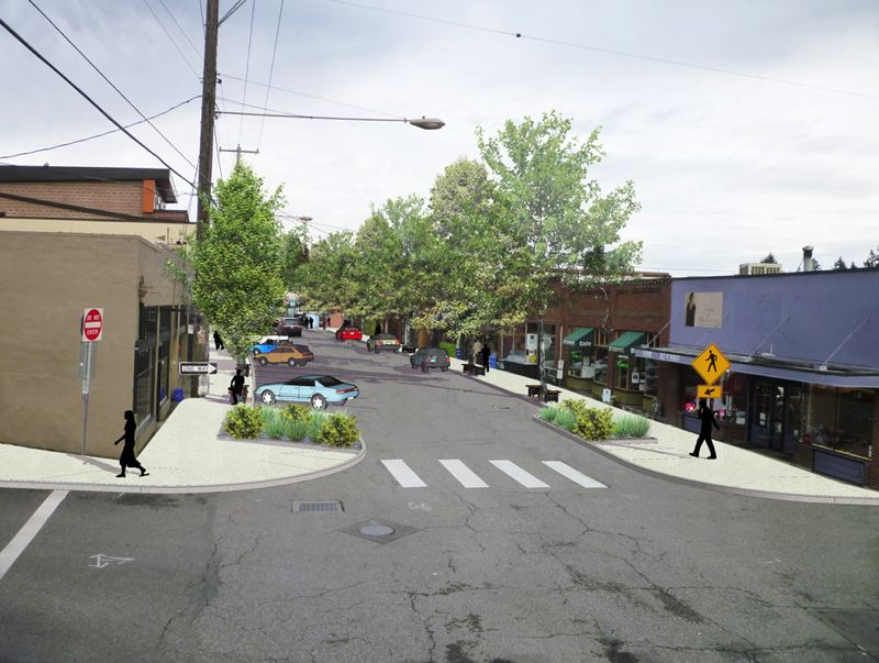 by: SUBMITTED PHOTO: PORTLAND BUREAU OF ENVIRONMENTAL SERVICES - A rendering of the completed Multnomah Village Stormwater and Streetscape Project on Southwest Capitol Highway, which serves as the Multnomah Days parade route.
