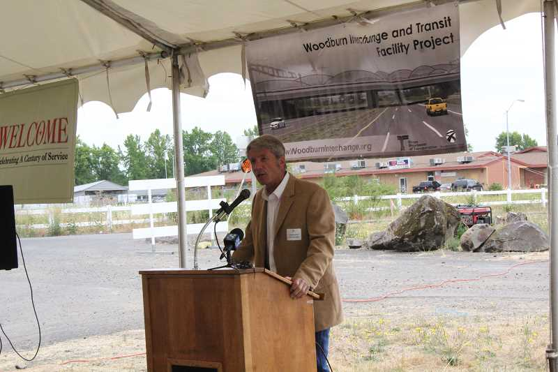 by: JEFF MCDONALD  - District 5 Rep. Kurt Schrader (D-OR) spoke at the Woodburn Interchange Project groundbreaking Monday.
