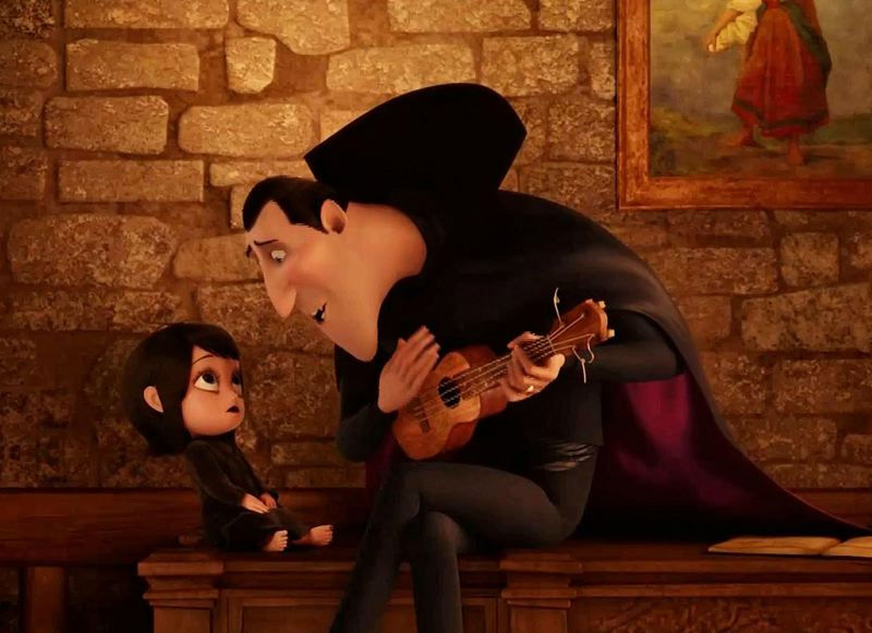 by: CONTRIBUTED PHOTO:  - Dracula (voice of Adam Sandler), right, speaks with fatherly grace as he instructs and protects his daughter, Mavis, (voice of Selena Gomez) from humans by building a place for her in Romania, far from human influence.