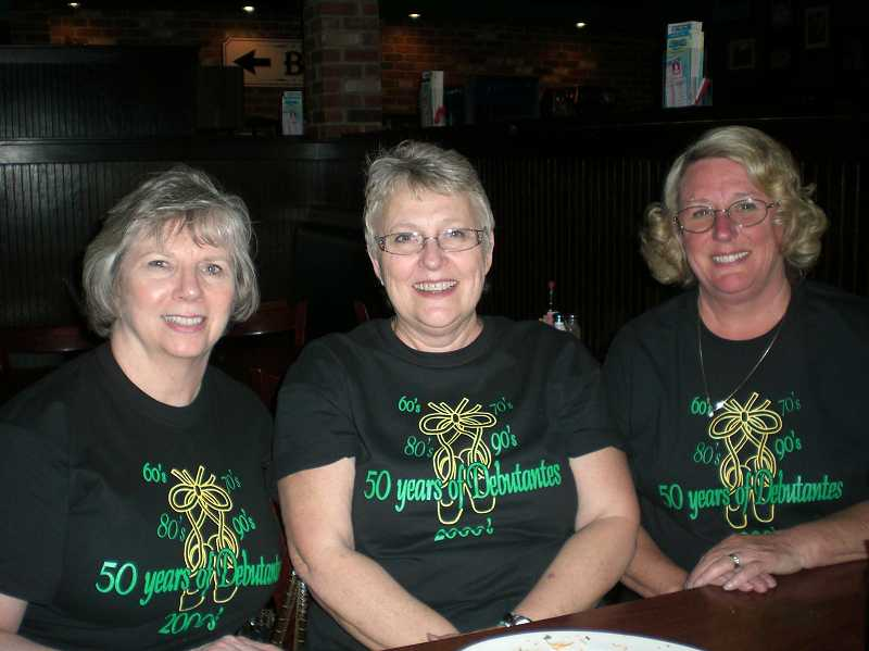 by: SUBMITTED PHOTO - Debs from all decades returned to the high school for a 50th-anniversary performance in May. From left, Patty (Wall) White, Bev (Gerow) Bush and Sue (Blakley) Bradley all danced as Debs in the 1960s.