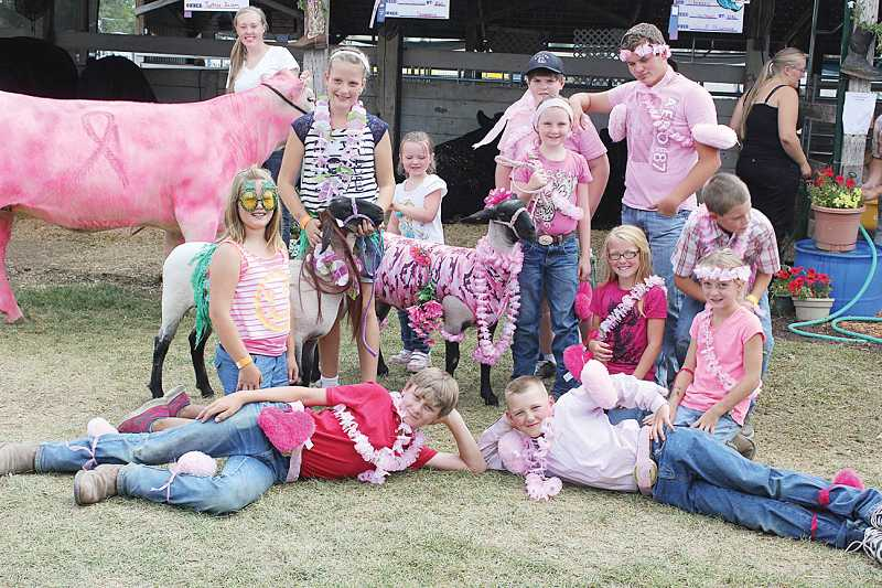 by: SUSAN MATHENY/THE PIONEER - Sarah Clymore and her pink steer, with other 4-H sheep club members, participated in the Animal Costume Contest, then paraded around the fairgrounds on Thursday.