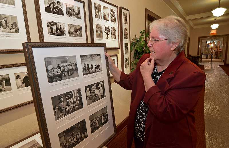 by: REVIEW PHOTOS: VERN UYETAKE - Sister Carole Strawn describes the history of the B.P. Administration building chapel, which is being renovated.