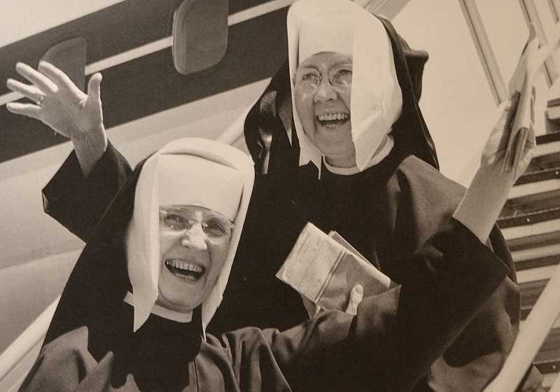 by: REVIEW PHOTO: VERN UYETAKE - This photo is of Sister Margaret Elizabeth Strassel, lower step, and Sister Miriam Clare Murphy, Marylhurst art department faculty members. It was taken in 1961, and they are about to depart to study for several weeks in Japan.