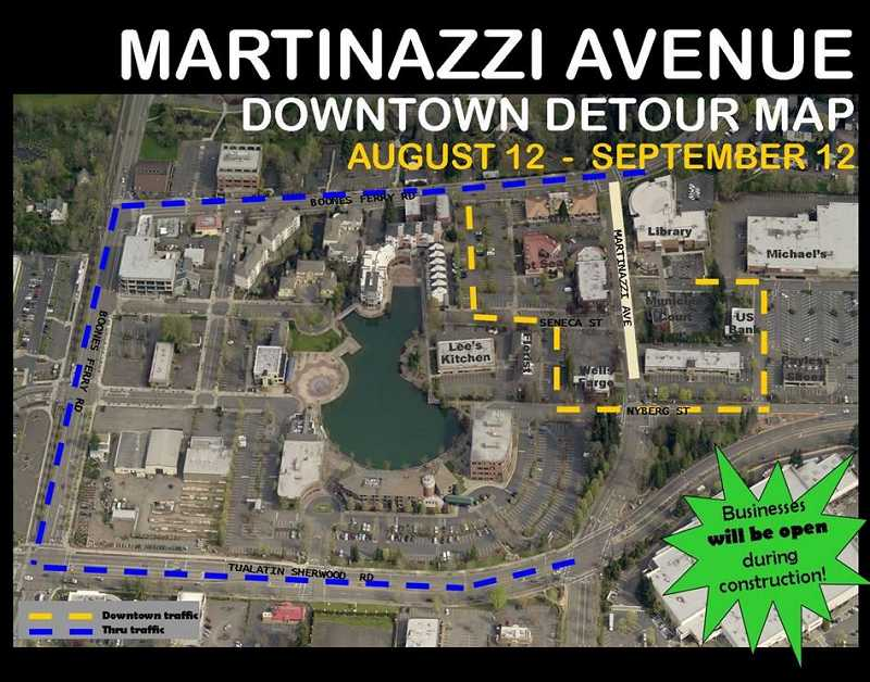 Construction on Southwest Matrinazzi Avenue will begin later this month. Downtown traffic (the yellow line) will be diverted around Martinazzi Avenue by Nyberg Street. Thru traffic (the blue line) will have to use Boones Ferry Road.