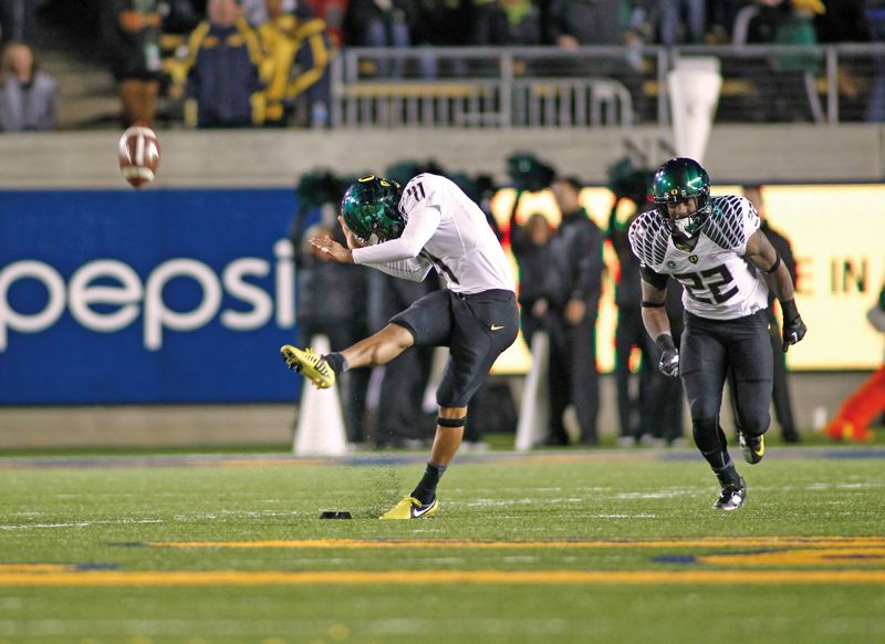by: COURTESY OF LARRY PLACIDO - Oregon Ducks senior Alejandro Maldonado is battling to retain his job as the teams No. 1 place-kicker
