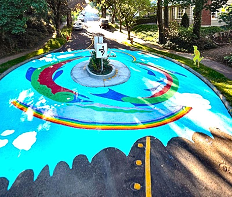 by: COLLIN MURPHY - Heres the completed Bybee Circle street art in Eastmoreland.