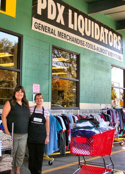 by: RITA A. LEONARD - PDX Liquidators, the self-described Almost Everything store, has moved north from the Holgate area and has reopened at 3454 S.E. Powell Boulevard. Store Manager Jody Meskel, left, and clerk Maggie Bosnar, are shown at the entrance.