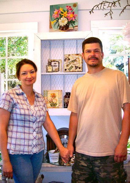by: RITA A. LEONARD - Raylene Peraza, left, owns Shabby Nest Antiquesin Sellwood - where you can also find repurposed furniture made by her husband Jeff Watt, at right.