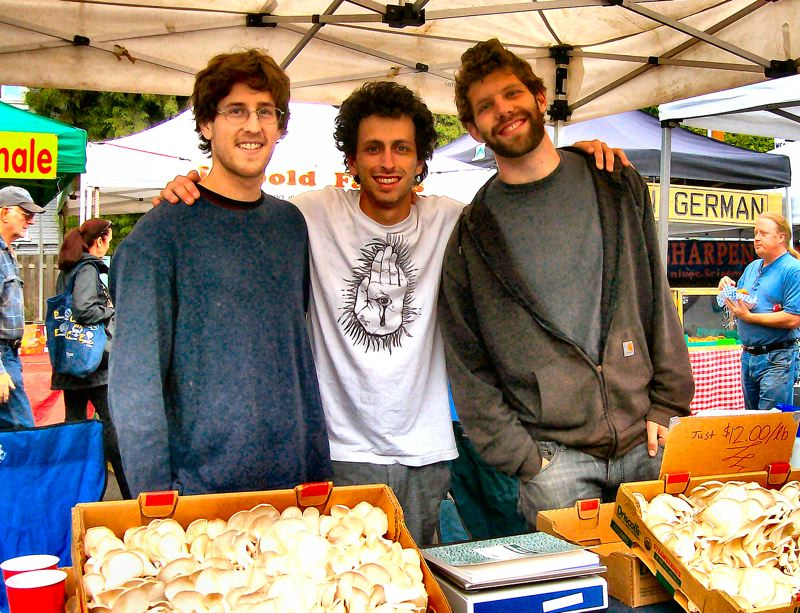 by: RITA A. LEONARD - The young Sellwood-based owners of The Portland Mushroom Co. are, from left: Will Fortini, Zac Tobias, and Ryan Bubriski.