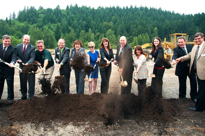by: PHOTO COURTESY: ODOT - At the groundbreaking are, from left: ODOT Region 1 manager Jason Tell, former Oregon House speaker Dave Hunt, President of Kerr Contractors Brent Kerr, County Commissioner Paul Savas, County Commissioner Tootie Smith, Transportation Policy Advisor to Gov. John Kitzhaber Karmen Fore, General Counsel for Oregon Iron Works and former county commissioner Ann Lininger, Chairman John Ludlow, Martha Schrader, State Rep. Shemia Fagan, ODOT Director Matt Garrett and State Sen. Alan Olsen.