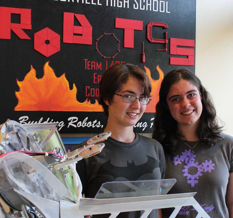 by: SPOKESMAN PHOTO: KATE HOOTS - Robotics team leaders say the team welcomes new recruits with all levels of experience. Strategy leader Tori Bianchi, left, will be a junior at West Linn High School in the fall. Overall team leader Karen Harper will be a senior at Wilsonville High School.