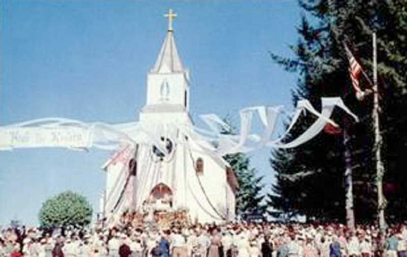 by: SUBMITTED - Parishioners gather for the first-ever Holy Rosary Mission pilgrimage in 1954.
