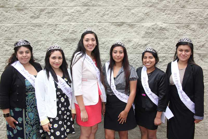 by: JEFF MCDONALD - This year's Fiesta Court (from left) included Denisse Rubio, Sophie Velasquez, Jocelyn Delgado, Apolonia Munoz, Iridian Mendez and Melissa Escalona.