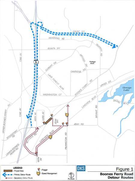 by: SUBMITTED - From Aug. 14 to 20, Boones Ferry Road will close between 63rd Avenue and Jean Way. The primary detour route will take drivers on Kruse Way to Interstate 5 and vice versa. A secondary detour will reroute traffic around the closure via Jean Way, Pilkington Road, Lakeview Boulevard and McEwan Road.
