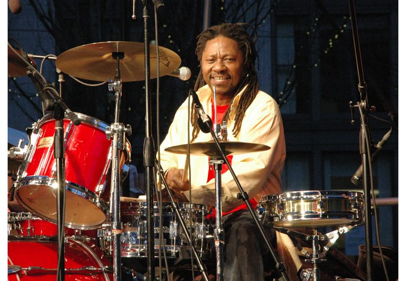 by: CONTRIBUTED PHOTO:  - Byron Mercurius shows his polished talents when he sits behind the trap drums, surrounded by his reggae friends. Together the quintet is called Rhythm Culture.