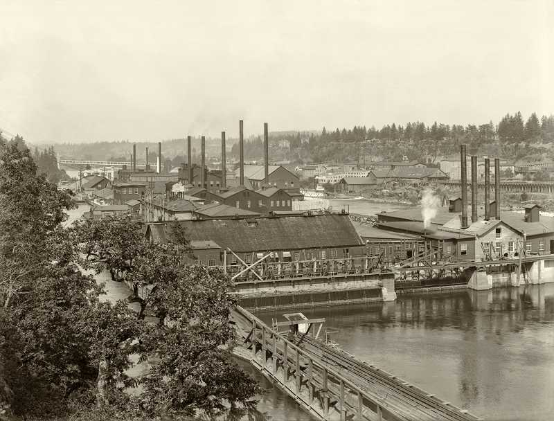 by: SUBMITTED PHOTO: OLD OREGON PHOTOS - Restored photos will be on display during the celebration, like this one which shows the Willamette Falls Mill in action, circa 1908.