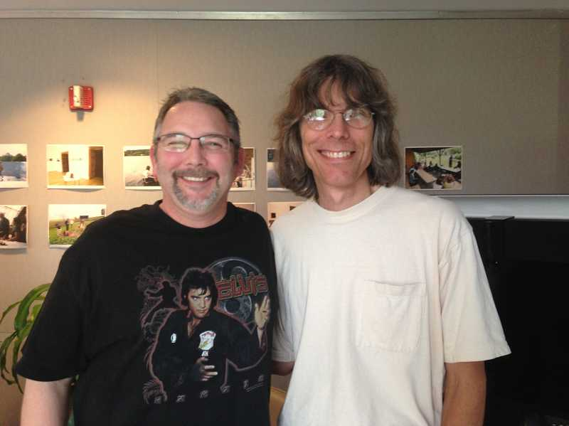 by: CONTRIBUTED PHOTO - Charles Geier, a West Tualatin View Elementary School teacher, hangs out with veteran Rolling Stone magazine writer David Fricke during the Rock and Roll Forever Foundations National Curriculum Summer Institute at New York University last month.