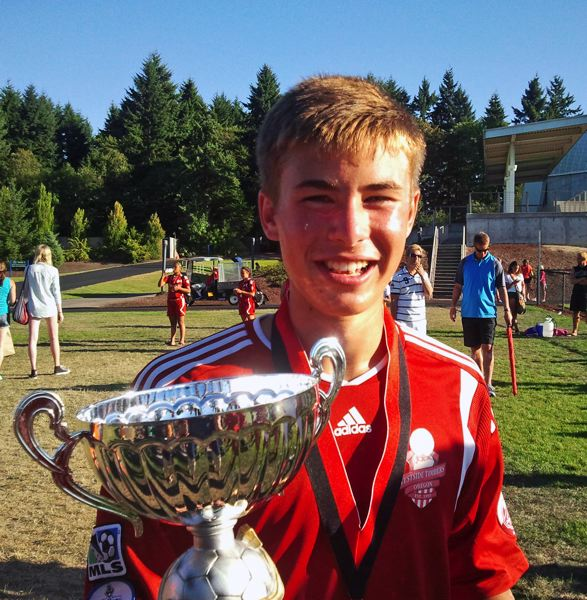 by: SUBMITTED PHOTO - SOCCER CHAMP -- Tigard High School senior-to-be Ben White scored 11 goals in five games at the Adidas Beaverton Cup.