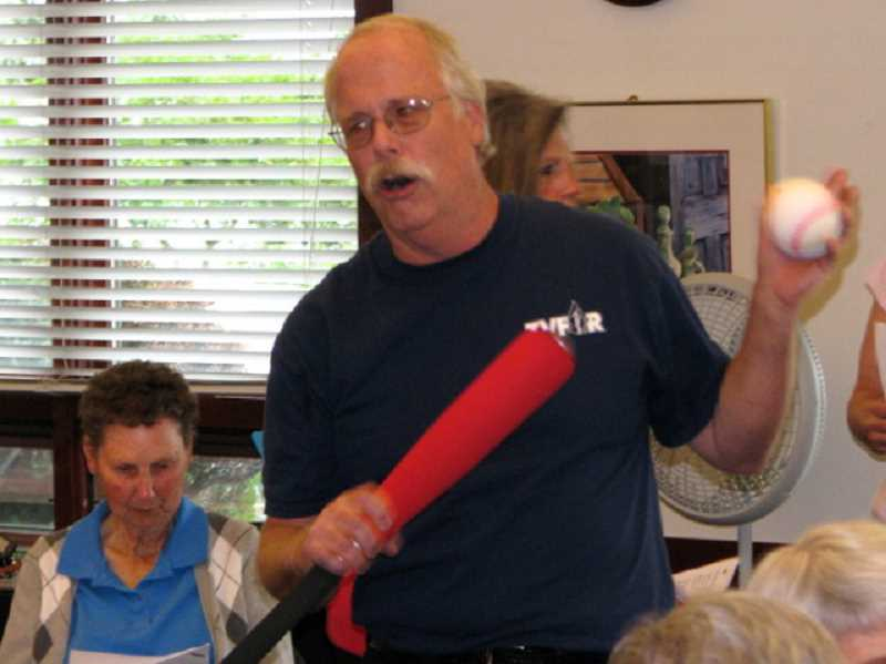 by: SUBMITTED - Bill Barger led a rousing version of Take Me Out to the Ball Game at the recent spaghetti fundraising dinner.