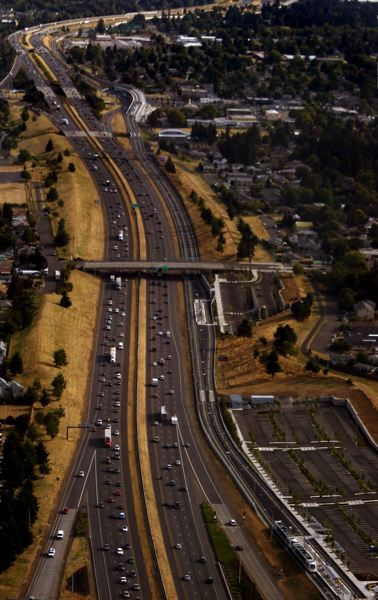 by: 2009 FILE PHOTO OF GREEN LINE - Congestion along Interstate 205 is the subject of Clackamas County commissioners' letter this summer to the state advocating for widening.