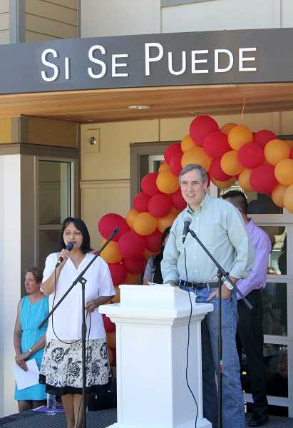 by: JEFF MCDONALD  - U.S. Senator Jeff Merkley (D-OR) delivers prepared remarks at last weeks grand opening ceremony at the fourth phase of the Nuevo Amanecer project in Woodburn.